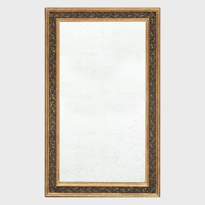 Decorative Black Painted and Parcel-Gilt Mirror