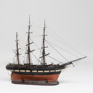 Painted Model of a Three-Mast Sailing Ship