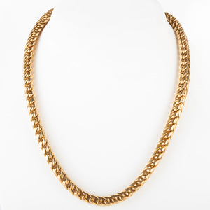 18k Gold Box Link Chain Necklace