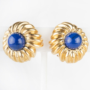 Pair of 14k Gold and Lapis Lazuli Earclips