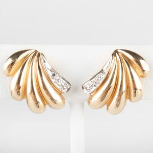 Pair of 14k Gold and Diamond Earclips