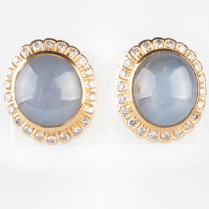 Pair of Moonstone, 18k Gold and Diamond Studs