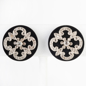 Pair of Onyx, Diamond and 14k Gold Earclips