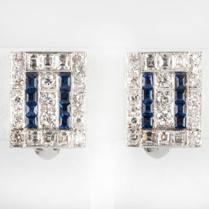 Pair of 14k White Gold, Diamond and Sapphire Earclips