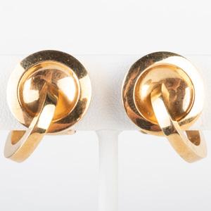 Pair of 18k Gold Double Hoop Earclips