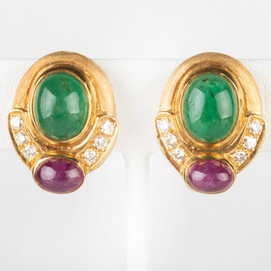 Pair of 18k Gold, Diamond, Cabochon Ruby and Emerald Earclips