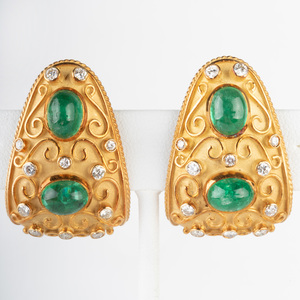 Pair of 18k Gold, Diamond and Cabochon Emerald Earclips