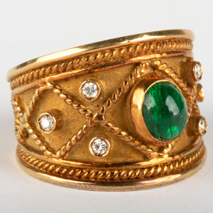 18k Gold, Diamond and Cabochon Emerald Ring