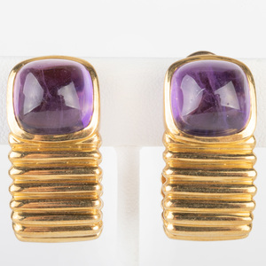 Pair of 14k Gold and Amethyst Earclips