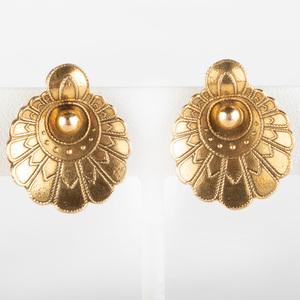 Pair of 14k Gold Fan Shape Earclips