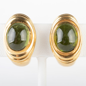 Pair of 18k Gold and Green Tourmaline Earclips