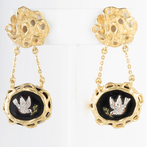 Pair of 18k Gold, Onyx and Micro Mosaic Earrings