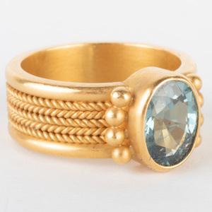 Reinstein Ross 22k Braided Gold and Aquamarine Ring