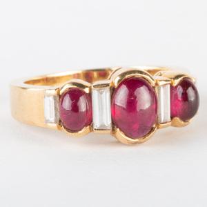 Boucheron 18k Gold, Diamond and Ruby Ring