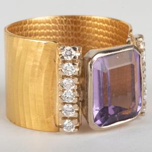 22k Gold, Amethyst and Diamond Ring
