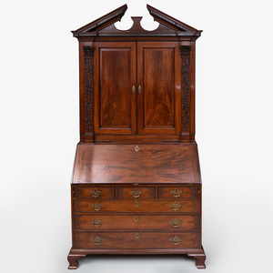 Fine and Rare George III Carved Mahogany Bureau Cabinet, probably Scottish