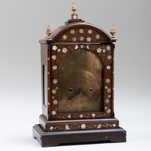 Anglo-Asian Hardwood, Brass and Mother-of-Pearl Mantle Clock
