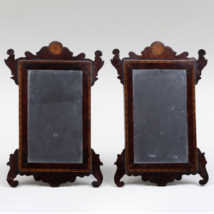 Rare Pair of Chippendale Inlaid Mahogany Diminutive Dressing Mirrors