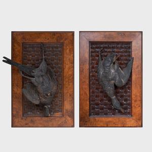 Alexander Pope (1849-1924): Pair of Carved Wood Trompe L'oeil Water Fowl