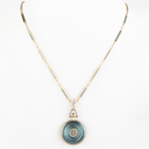 Guilloche Enamel, Diamond and Gold Pendant Watch Necklace