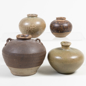 Group of Four Chinese Glazed Pottery Jarlets