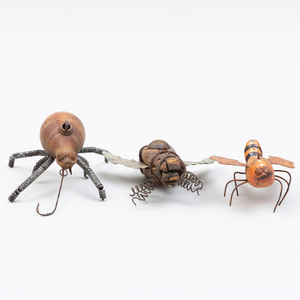 Group of Three American Painted Wood and Metal Bug-Form Fish Lures