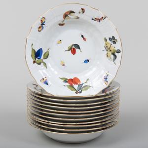 Set of Twelve Herend Soup Plates in the 'Market Garden' Pattern