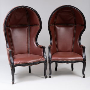Pair of Modern Ebonized and Leather Porters Chairs