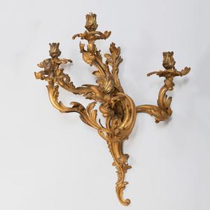 Pair of Large Louis XV Style Gilt-Bronze Five Light Sconces