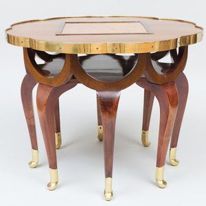 Adolf Loos Brass-Mounted, Mahogany and Marble Tile 'Elephant' Table