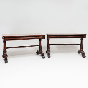 Pair of William IV Carved Mahogany Library Tables