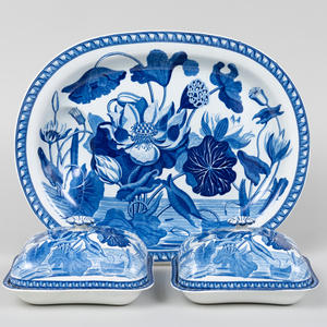 Group of Three Wedgwood Porcelain Serving Wares in the 'Blue Botanical Water Lily' Pattern