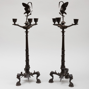 Pair of Italian Bronze Three-Light Candelabra, After the Antique