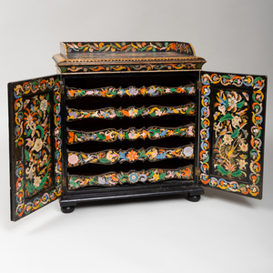 Late Regency Polychrome Painted Table Cabinet