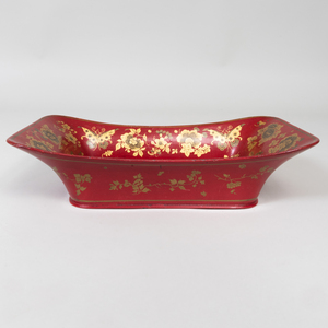 Victorian Scarlet and Gilt Decorated Papier Mâché Bread Basket