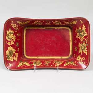 Victorian Scarlet and Gilt Decorated Papier Mâché Bread Basket