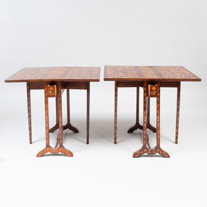 Pair of Anglo Dutch Mahogany and Fruitwood Marquetry Sutherland Tables