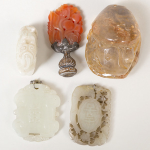 Group of Chinese Pale Green Jade and Hardstone Objects