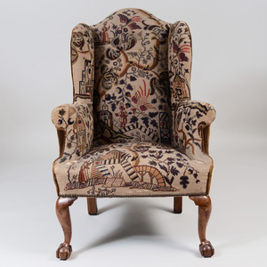 George II Walnut Wing Chair