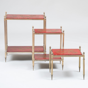 Group of Three Modern Brass-Mounted Red Lacquer Side Tables