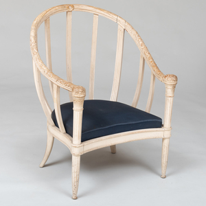 Large French Art Deco White Painted Tub Chair, in the Manner of Süe et Mare
