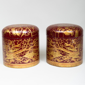 Pair of Vietnamese for Maitland-Smith Gilt-Decorated Scarlet Lacquer Cylindrical Hat Boxes