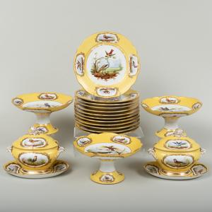 Paris Porcelain Yellow Ground Ornithological Part Dessert Service