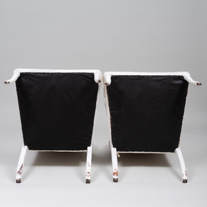 Pair of Neoclassical Style White Painted Armchairs, of Recent Manufacture
