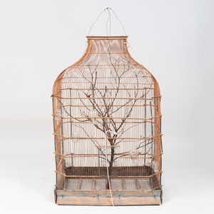 Large Painted and Wire Bird Cage