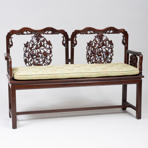 Chinese Carved Hardwood Bench