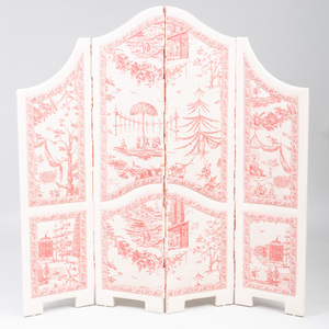 French Toile Upholstered Four Fold Screen