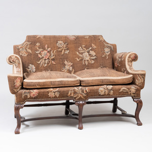 William and Mary Style Walnut and Needlepoint Settee