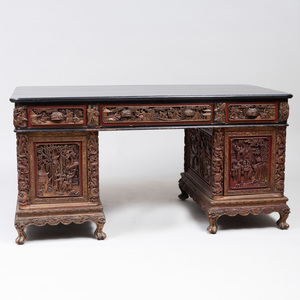 Chinese Ebonized, Painted and Oil Gilded Carved Partner's Desk