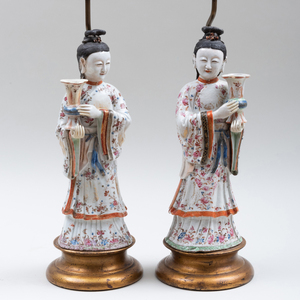 Pair of Chinese Export Porcelain Famille Rose Court Lady Candleholders Mounted as Lamps